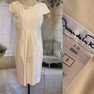 Oscar de la  Renta Cream Pleated Cocktail Dress
